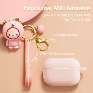 Image 4 - ESR Cartoon Case for AirPods Pro Soft Slim Silicone Charging Cover Shockproof Case with Cute Monkey Keychain for AirPods 3 2019