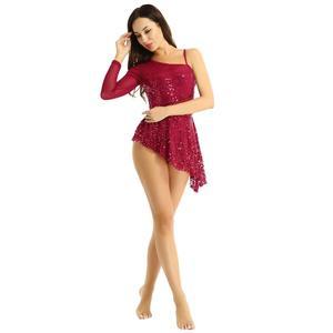 Image 5 - Women Sequin Asymmetric Lyrical dance dress Single Long Sleeve Shiny Leotard Ballet Dance Dress for Lyrical Modern Contemporary