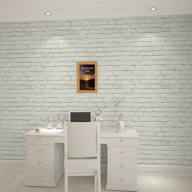 3D Grey And White Brick Pattern Wallpaper Retro Bricks Clothing Store Restaurant Barber Shop Wall Wallpaper Foreign Trade