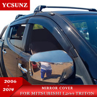Mirror Cover For Mitsubishi L200 Triton 2006 2007 2008 2009 2010 2011 2012 2013 2014 Double Cab Chrome Chromium Styling    -