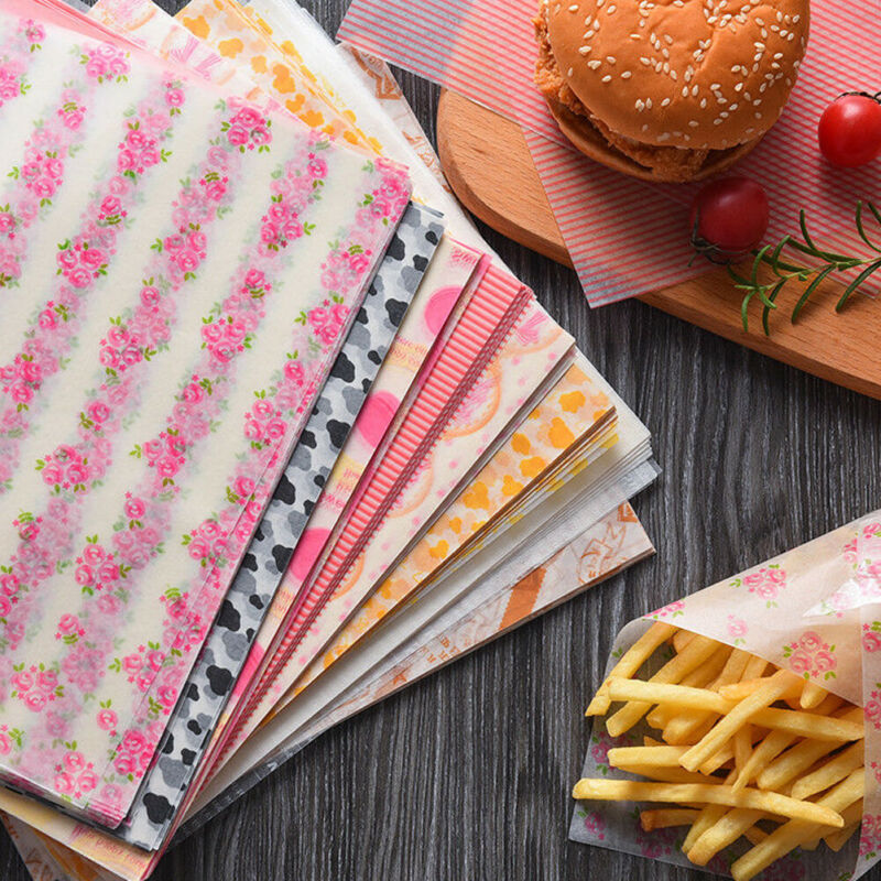 50pcs Disposable Food Wrapping Wax Paper Hambur Sandwich Bread Candy Wrap Paper image
