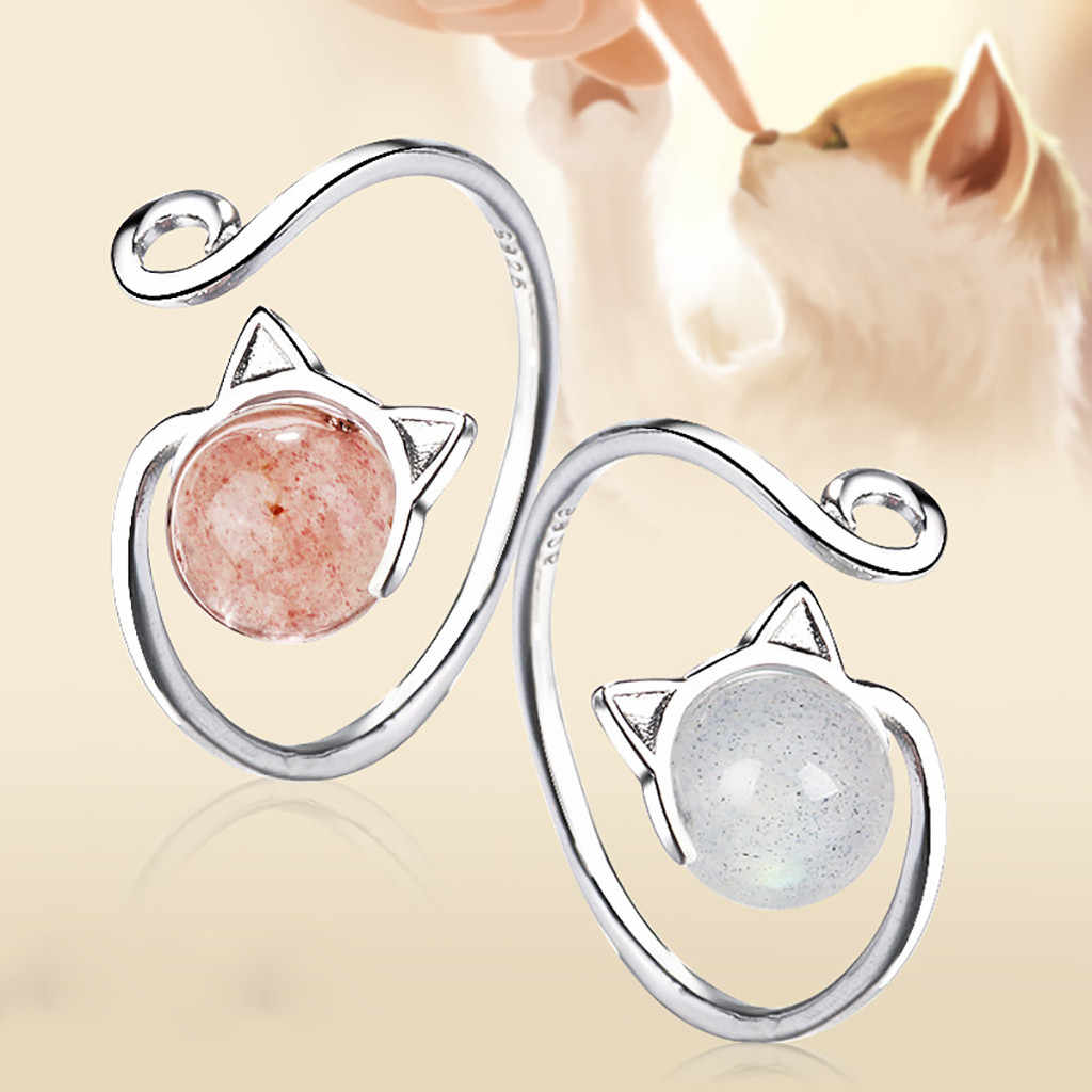 Fashion Cute Strawberry Crystal Cat Opening Adjustable Women's Ring Jewelry Wedding rings for women Wedding Band Ring rings set