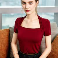 Женская футболка 2020, женская летняя элегантная шаль с короткими рукавами в стиле ретро во французском стиле, имитация двухсекционного топа,...