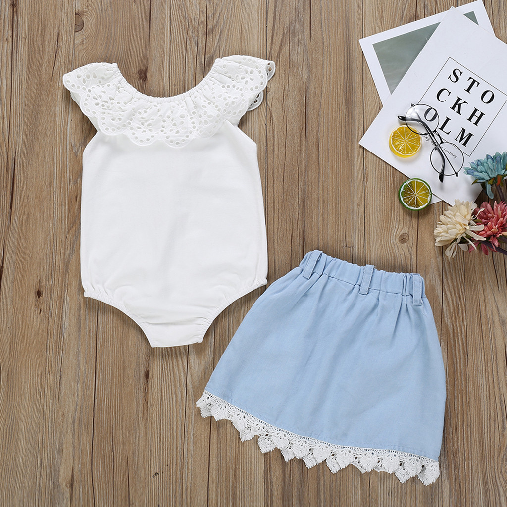 Toddler Baby Girls Solid White Sleeveless Back Bowknot T Shirt Top+Lace Patchwork Skirt Sets Outfits