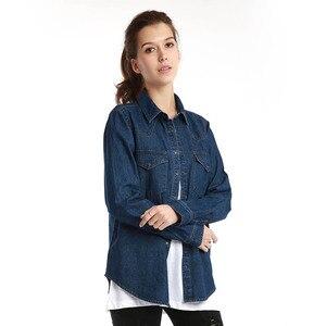 Image 2 - 11.11 סתיו חורף נשים ג ינס חולצה בסיסית רופף מזדמן ארוך שרוול עם 2 כיסי 100% כותנה שטף כחול נשי חולצה למעלה
