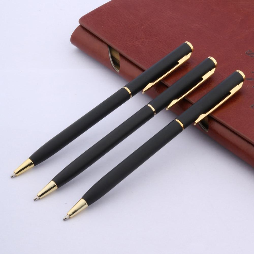 MATTE BLACK Piece Metal Classical Golden Student Ballpoint Pen