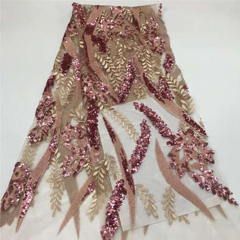 Embroidery Lace African Tulle Lace 2020, shining Bridal Lace Fabric, African Sequin Lace Fabric for dress XIONGXJUN183