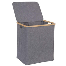Laundry-Basket Hamper Dirty Clothes Bamboo Handle Collapsible Large with Lid for Bedroo