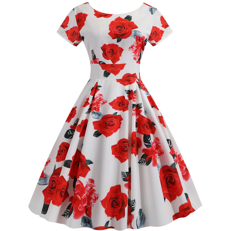 Summer Floral Print Elegant A-line Party Dress Women Slim White Short Sleeve Swing Pin up Vintage Dresses Plus Size Robe Femme 219