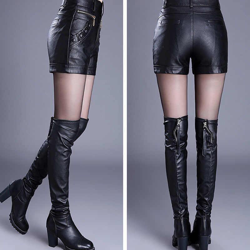 2020 novo inverno pu couro shorts botas femininas de cintura alta moda shorts feminino preto shorts de couro plus size vermelho e preto