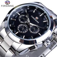 Forsining Black Men's Mechanical Watch 3 Dial Calendar Automatic Self-Wind Clock Business Sport Stainless Steel Belts Wristwatch 2017 forsining china brand men watches dress automatic self wind watch black tourbillion dial imported 316l stainless steel band