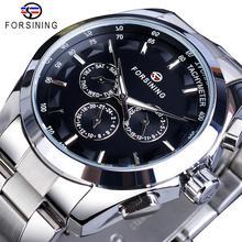 Forsining Black Men's Mechanical Watch 3 Dial Calendar Automatic Self-Wind Clock Business Sport Stainless Steel Belts Wristwatch цена и фото