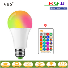 цена на E27 LED Bulb 5W 10W 15W RGB + White 16 Color LED Lamp AC85-265V Changeable RGB Bulb Light With Remote Control + Memory Function