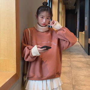 Pullover Hoodie Embroidery Turtleneck Harajuku Thicken Fashion Lady Fake Two-Collar Costume