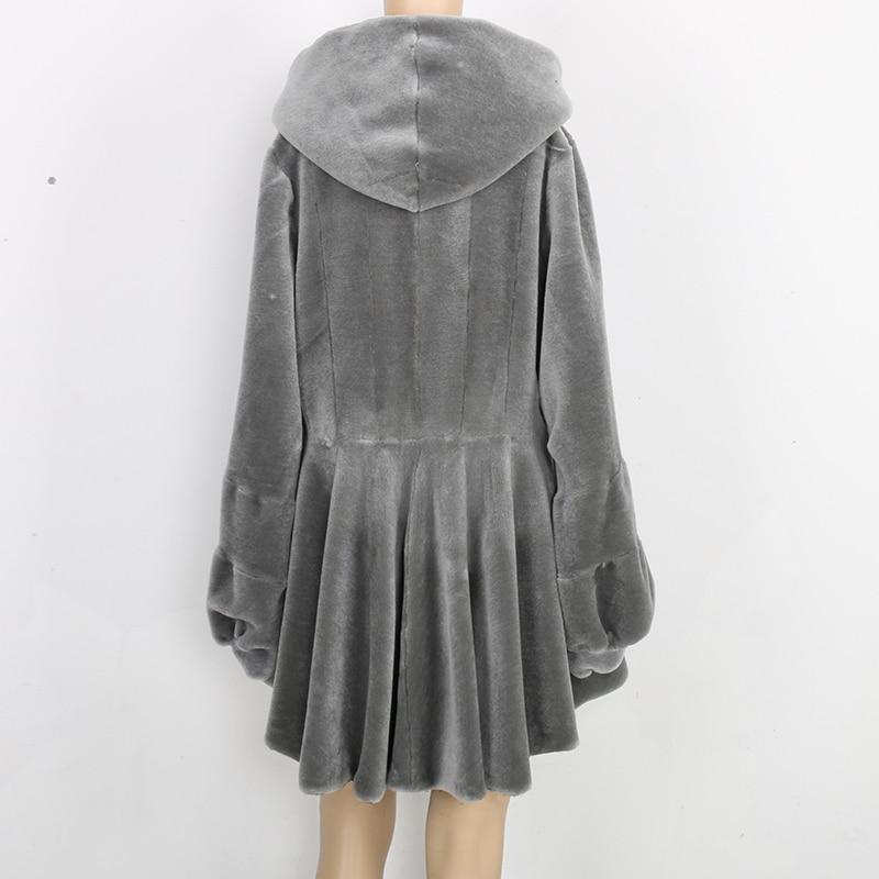 Nerazzurri Real Fur Coat Women With Hood Long Sleeve Lantern Sleeve Genuine Fur Coats Gray Red Plus Size Sheep Shearling Jacket