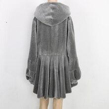 Nerazzurri reale cappotto di pelliccia delle donne con cappuccio a maniche lunghe lanterna manica cappotti di pelliccia genuino grigio rosso più il formato di pecora shearling giacca