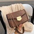 Сумки через плечо с крокодиловым узором для женщин 2020 маленькая сумка с цепочкой маленькая сумка из искусственной кожи ручная сумка женски...