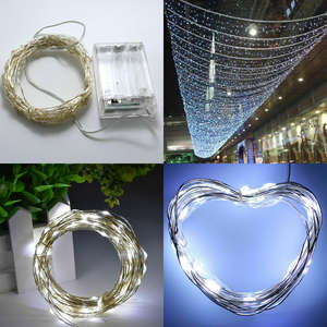 Led-String-Lights Battery Silver-Wire-Garland Party-Decoration Powered 100LED Christmas