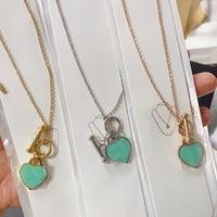 Edelstahl klassische mode exklusive blau emaille herz geformt damen halskette schmuck urlaub geschenk mode zubehör