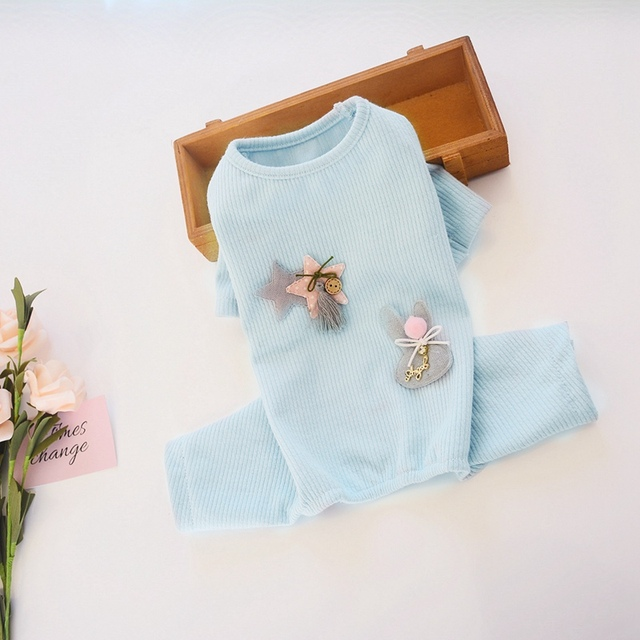 Pyjama en coton pour chien de compagnie   Jolis vêtements danimaux avec lapin étoile, décoration de chiot, combinaison manteau pour toutes saisons, barboteuse pour chiens