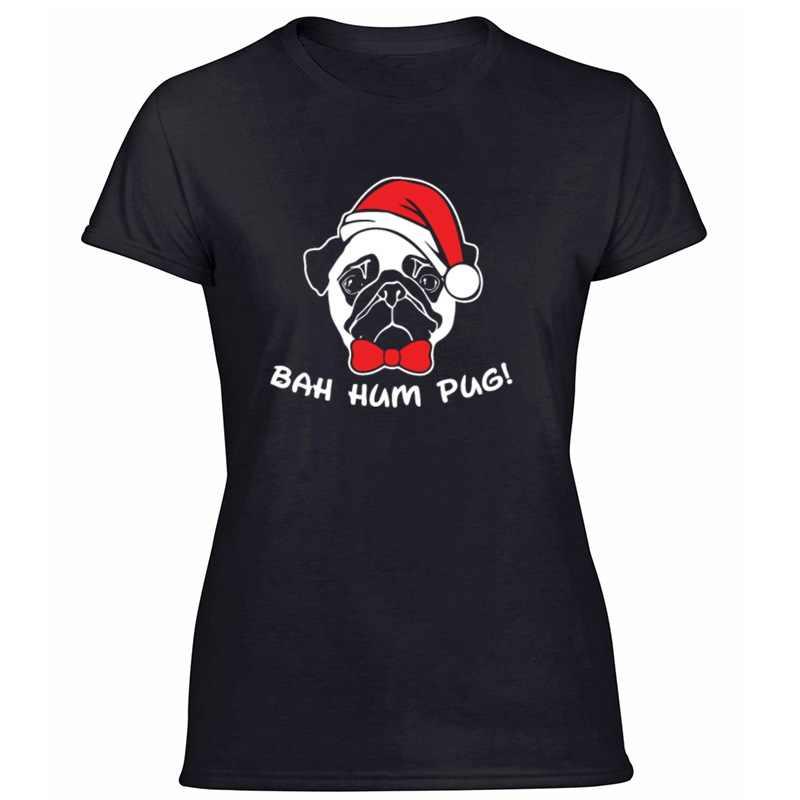 การพิมพ์แฟชั่น Bah Hum Pug Scrooge Grinch Christmas TShirt ตัวอักษรเฮฮา Leisure ผู้ใหญ่เสื้อยืดเสื้อผ้า 2020