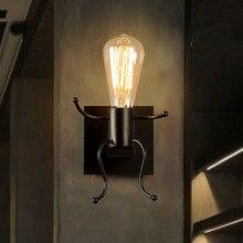 Lámparas de pared LED de Metal creativas lámparas de pared de cabecera de dormitorio Vintage 1 cabeza decoración Industrial negro/blanco/rojo lámpara de hierro