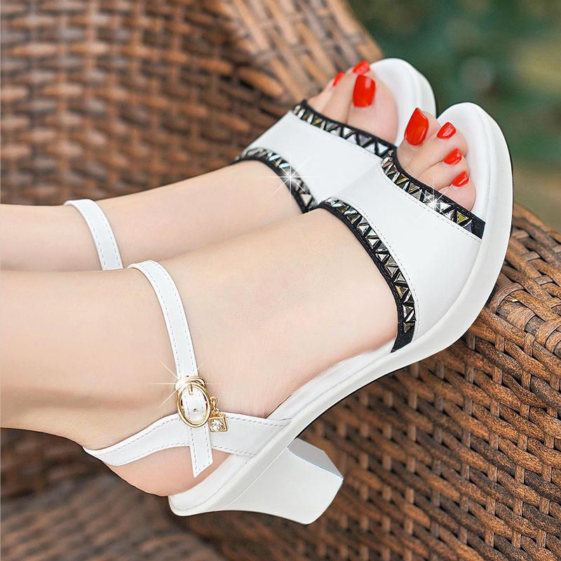 New Women Pumps Sexy Rhinestone Fish Mouth Shoes Woman Thick Heel Sandal Rome Sandal Summer Party High Heel Sandals Ladies Shoes