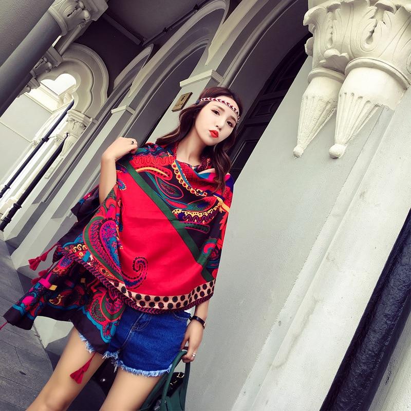 Summer Print Scarf for Women Ethnic Stylish Cotton New Design Large BOHO Shawl Wraps Recommend Hijab Girls