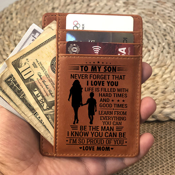 Custom Card Holder,Engraved Leather Card Holder Wallet Inserts Personalized Gifts To Son Dad Husband Boyfriend