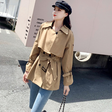 Ailegogo New Autumn Women Casual Short Trench Coat Khaki Double Breasted Turn Do