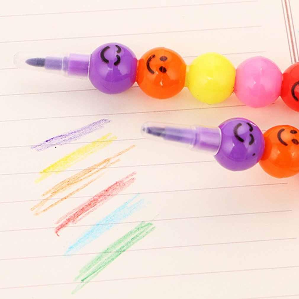 7 couleurs Crayons créatif enduit de sucre Haws dessin animé Smiley Graffiti stylo papeterie cadeaux pour enfants cire Crayon Crayon 7 couleurs