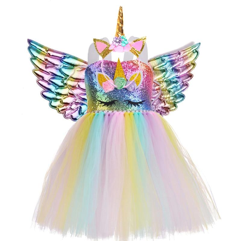 Kids Clothes Girls Summer Sequin Unicorn Dress Princess Dresses For Women Wedding Party Dress LED Children Clothing vestido 2021 3