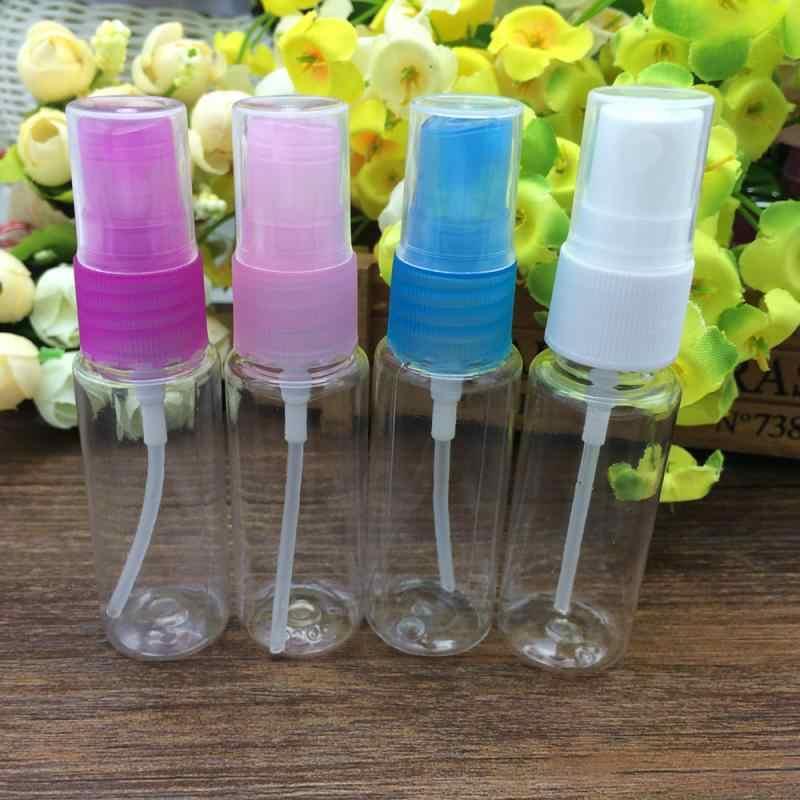 1 Uds 20ml Mini plástico transparente pequeña botella vacía con pulverizador para maquillaje y cuidado de la piel recargable Color al azar para uso en viajes nuevo