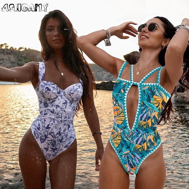 Ashgaily 2021 Neue Ein Stück Badeanzug Sexy Cartoon Gedruckt Bademode Frauen Badeanzug Strand Backless Monokini Badeanzug Weibliche