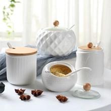 Household Kitchen Supplies Salt Shaker/Creative Oiler Wave Pattern Seasoning Jar White Ceramic Wood Cover Simple Storage Tool