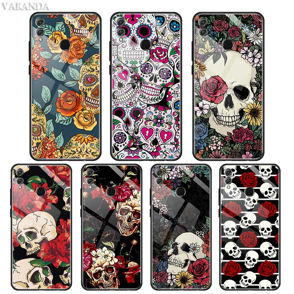 Retro Style Flower Skull <font><b>Case</b></font> For <font><b>Huawei</b></font> Honor 8X 9X 20 Nova 5T Y9 Y7 Y6 <font><b>P</b></font> <font><b>Smart</b></font> Pro <font><b>2019</b></font> Tempered Glass <font><b>Phone</b></font> Black Coque image