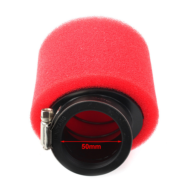 50mm Red Motorcycle Air Filter Angled for  ATV Go Kart Moped Scooter Pocket Dirt Bike