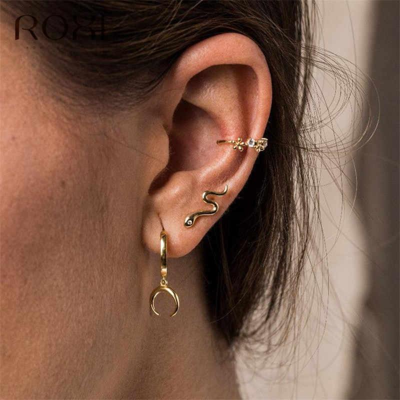 ROXI Mode frauen Punk Stil Tier Schlange Ohrringe 100% 925 Sterling Silber Ohrring Schlangenartigen Tier Climber Ohr Schmuck Geschenk