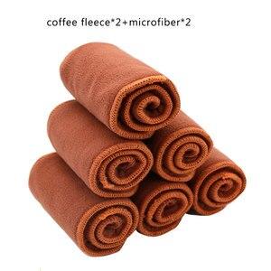 Image 5 - Elinfant 패션 새로운 4pcs diape 삽입 + 1pc 젖은 가방 빨 커피 메쉬 천 기저귀 커버 조정 가능한 재사용 가능한 기저귀