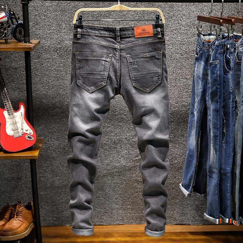 Lente Herfst mannen Elastische Katoen Stretch Jeans Broek Loose Fit Denim Broek mannen Merk Mode Slijtage en gewassen jean broek