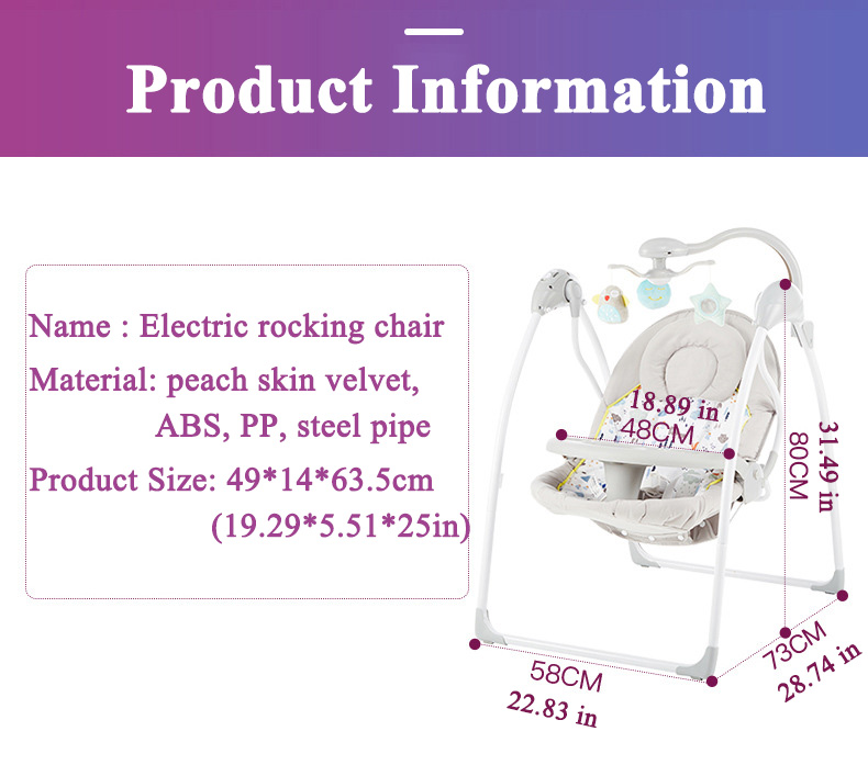 H1452f3ca22a54f4cb2bf2c66a01c969fK Babyinner Baby Rocking Chair Baby Bassinet Newborn Electric Cradle Foldable Baby Chair Multifunctional Swing Baby Sleeping Bed