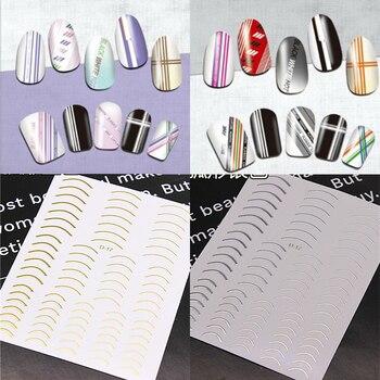 Gran oferta 1 Uds. Deslizadores de plata dorada pegatinas de uñas 3D líneas rectas curvas envolturas de cinta decoraciones geométricas para uñas