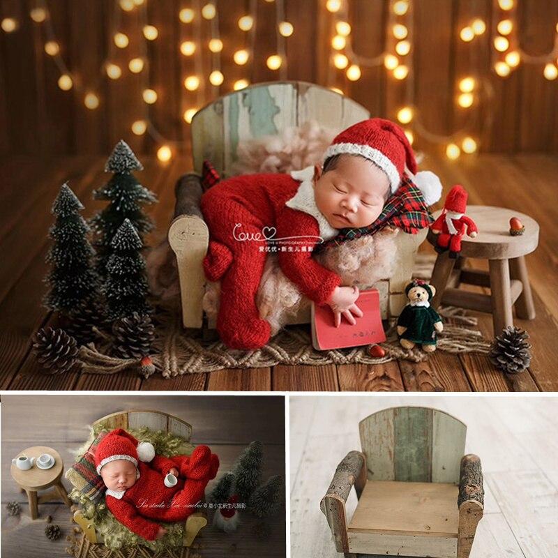 Props Fotografia Navidad Old Wooden Sofa Newborn Baby Posing Props Photography Vintage Wood Studio Photography Props for Shoot