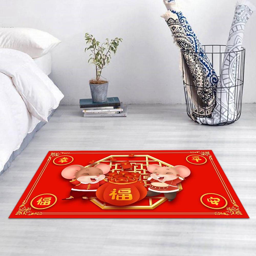 1PCS Indoor / Outdoor Easy To Clean Rubber Non-slip Backing Entrance Door Mat Area Carpet Rat New Year 2020