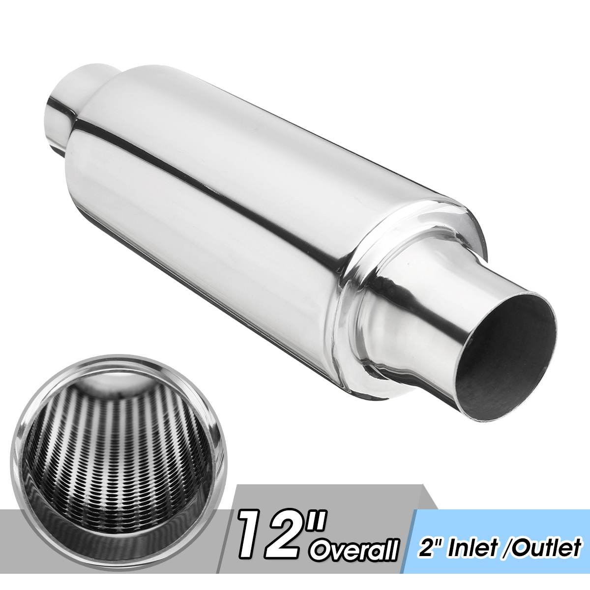 Hot New Universal Stainless Steel Car Exhaust Pipe Muffler Resonator 51mm Inlet/Outlet Exhaust Tip Tube Silencer