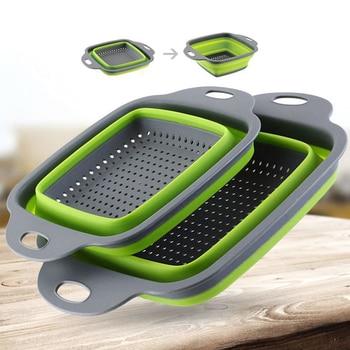 Colander Dish Drainer Foldable Strainer Fruit Vegetable Washing Basket Silicone Colander Collapsible Drainer Kitchen Tools