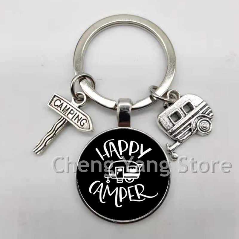 קמפינג שמח חמוד נסיעות רכב קמפינג camper מפתח לוגו זכוכית מפתח שרשרת בקרושון נוסע מפתח שרשרת אלת קסם סיטונאי