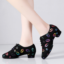 New Sneakers Latin Dance Shoes Women Teacher Shoes 5cm Heel colorful Lips Oxford Cloth Lace Up Ballroom Salsa Dancing Shoe Girls
