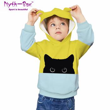 Jesień zima bluzy dziecięce kot 3D odzież z nadrukiem bluzy dziecięce bluzy dziecięce bluzy z kapturem 5-12y bluza z kapturem dla chłopca i dziewczynki tanie i dobre opinie Myth-box Pasuje prawda na wymiar weź swój normalny rozmiar Szybkie suche Wokół szyi TWQA Pełna Dzianiny Poliester