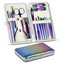 8/18 Pieces New Rainbow Manicure Kit Pedicure Professional Grooming Care Tools Nail File Nail Clippers With Leather Manicure Set